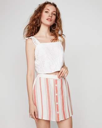 Express Striped Button Front Linen-Blend Mini Skirt