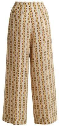 Etro Wide-leg crescent-print silk trousers