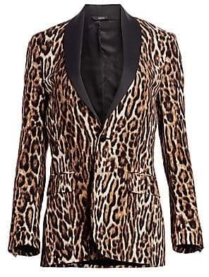 R 13 Women's Shawl-Lapel Leopard-Print Blazer