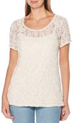 Rafaella Petite Lace Short Sleeve Top