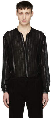 Saint Laurent Black Tunisian Collar Shirt