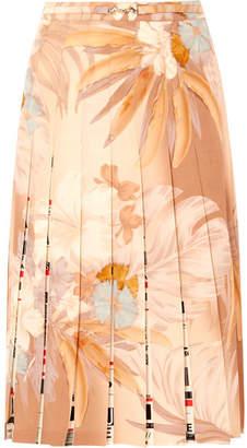 Maison Margiela Printed Pleated Wool-blend Skirt - Beige