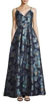 Calvin Klein Metallic Floral Ball Gown