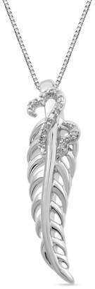 Zales Open Hearts by Jane Seymoura Diamond Accent Feather Pendant in Sterling Silver