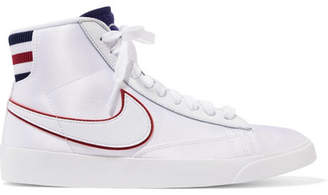 Nike Blazer Leather And Ribbed Knit-trimmed Satin Sneakers - White