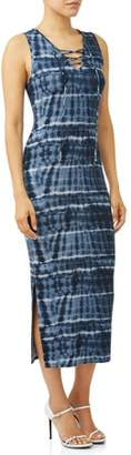 Sofia Jeans by Sofia Vergara Lace-up Neck Fitted Tie-Dye Maxi Dress Women's