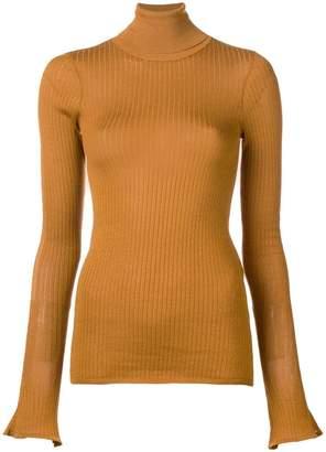 Victoria Beckham sheer rib polo neck top