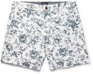Club Monaco Baxter Slim-Fit Floral-Print Linen And Cotton-Blend Twill Shorts