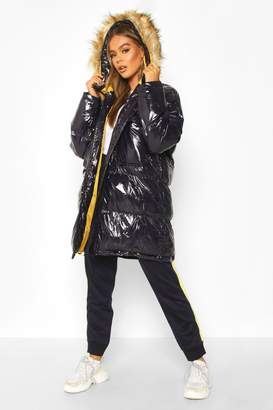 boohoo Vinyl Longline Faux Fur Trim Puffer Jacket