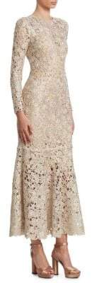 Oscar de la Renta Women's Bird's Nest Crochet Flounce Dress - Gold - Size Small