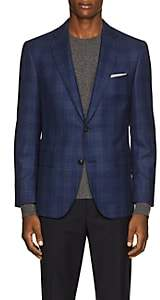 Pal Zileri MEN'S CHECKED WOOL TWO-BUTTON SPORTCOAT-NAVY SIZE 42 R