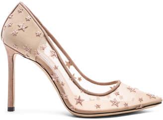Jimmy Choo Romy 100 Star Mesh Heels in Ballet Pink & Ballet Pink | FWRD