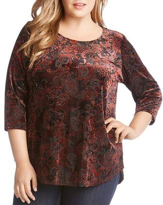 Karen Kane Plus Velvet Burnout Paisley Top