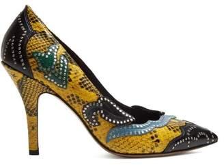 Isabel Marant Pavine Studded Snake Effect Leather Pumps - Womens - Yellow Multi