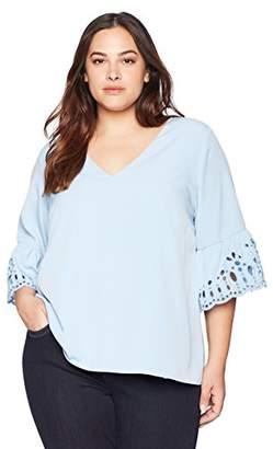 Calvin Klein Women's Plus Size L/S BLS W/SLV Detail