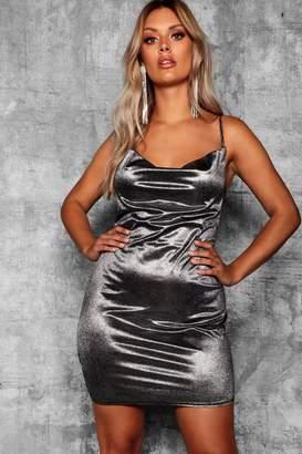 boohoo Plus Metallic Cowl Neck Dress