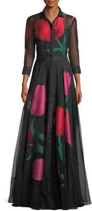 Carolina Herrera Full-Sleeve Plunging-V Tulip-Print Organza Evening Gown