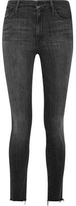 Mother - Looker Frayed High-rise Skinny Jeans - Gray $225 thestylecure.com