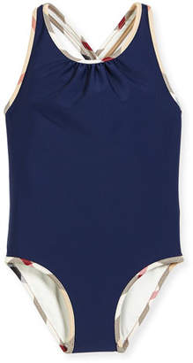 Burberry Beadnell Check-Trim One-Piece Swimsuit, Navy, Size 4-14