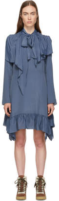 See by Chloe Blue Crepe de Chine Bow Blouse