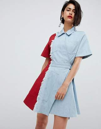 House of Holland vivid contrast denim dress
