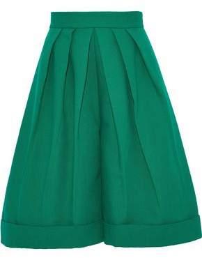 DELPOZO Pleated Cotton-Canvas Shorts