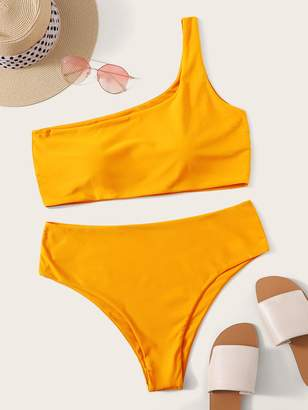 Shein Plus One Shoulder Bikini Set