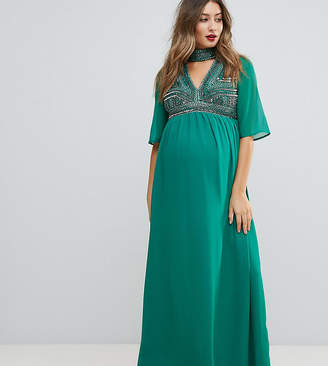 Asos Deep V Neck Embellished Maxi Dress