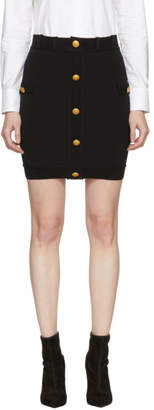 Pierre Balmain Black Button Miniskirt