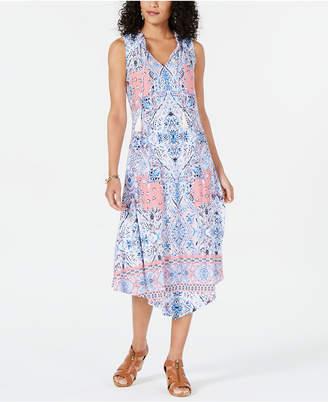 Style&Co. Style & Co Printed Split Ruffled Sleeveless Asymmetrical Midi Dress, Created for Macy's