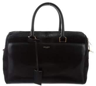 Saint Laurent Leather Ponyhair-Trim Satchel Black Leather Ponyhair-Trim Satchel