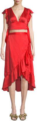 Saylor Amira V-Neck Cutout-Waist Asymmetric-Ruffle High-Low Satin Dress