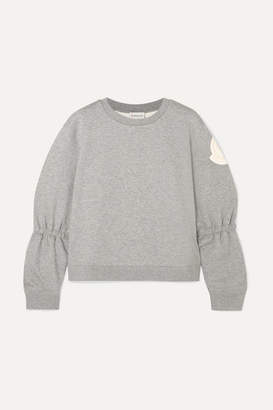 Moncler Appliquéd Cotton-blend Jersey Sweatshirt - Gray