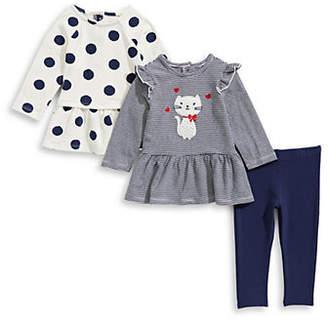 Little Me Baby Girl's Three-Piece Cotton Polka Dot Top, Striped Top Leggings Set