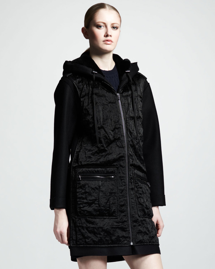 Lanvin Mixed Media Fur/Satin Hooded Coat