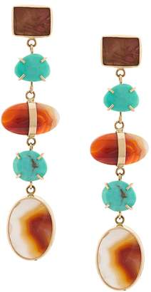 Melissa Joy Manning 14kt yellow gold agate & turquoise earrings
