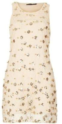 Dorothy Perkins Womens *Tenki Beige Sequin Lace Shift Dress