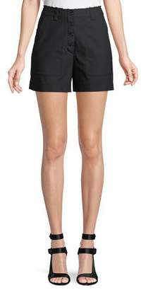 Proenza Schouler High-Waist Button-Fly Cotton Shorts