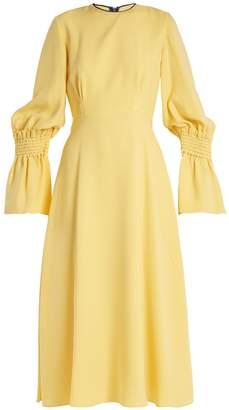 Roksanda Duana shirred-cuff fluted silk-georgette dress