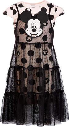 Disney Little Girls 2-Pc. Mickey Face Dot-Print Overlay Dress