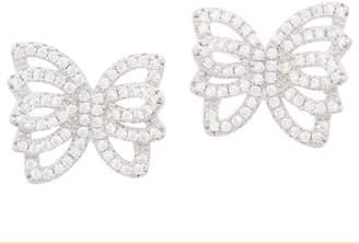 Diamonique Pave' Butterfly Stud Earrings, Sterling Silver