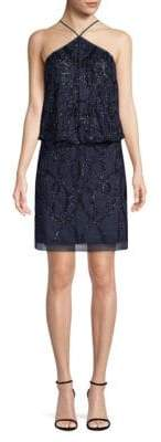 Aidan Mattox Embellished Halter Blouson Dress