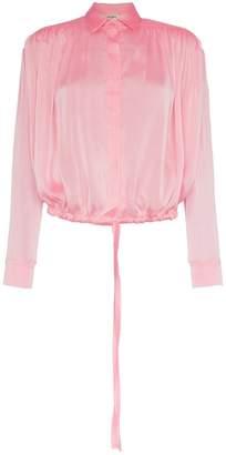 Matériel flared sheer blouse