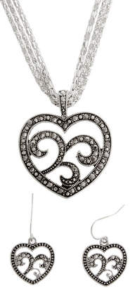 MIXIT Simulated Marcasite Heart Pendant & Earrings Set