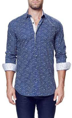 Maceoo Wall Street Tetris Long Sleeve Trim Fit Shirt (Big & Tall Available) $169 thestylecure.com