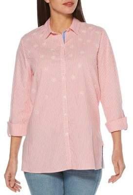 Rafaella Embellished Striped Button-Down Shirt