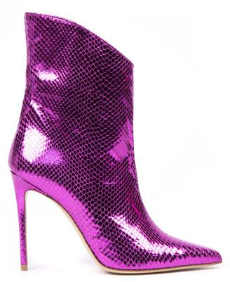 Aldo Castagna Fuchsia Printed Leather Ankle Boots
