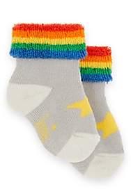 The Bonnie Mob Rainbow-Striped Star-Graphic Socks-Gray