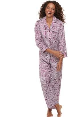 Miss Elaine Women's Essentials Paisley Satin Shirt & Pants Pajama Set