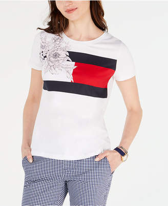 Tommy Hilfiger Floral Flag Printed Cotton T-Shirt
